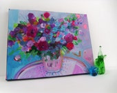 "Reserved for Brigtta  Abstract Summer Floral Painting on Small Canvas Original Modern Art ""Bouquet in a Blue Room"""