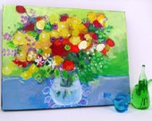 "Abstract Floral Still Life Painting Original Colorful ""Spring Bouquet"""
