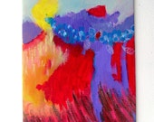 """Small Abstract Painting Modern Art  Canvas Board""""Run at the Mountains with Wings On"""""""