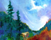 """Landscape Painting Canvas Original Oregon Mountain Forest """"Longing for the Mountain Air"""""""
