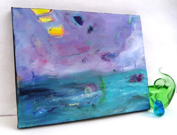 "Minimalist Abstract Seascape Landscape Artwork on Small Canvas, Acrylic Painting ""Stormy Sea"""