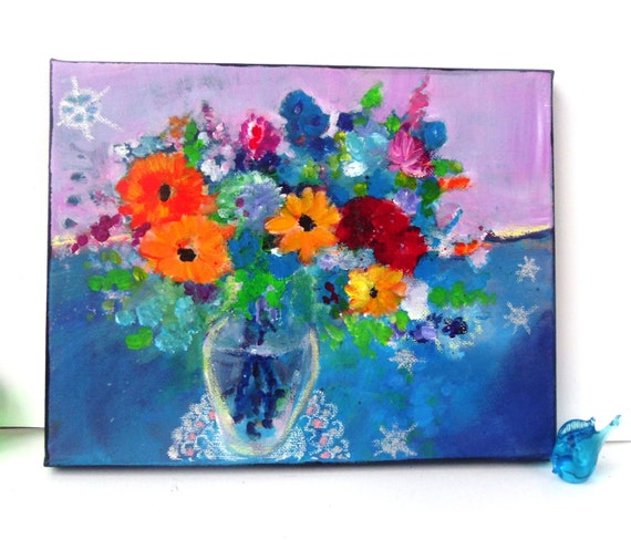 Reserved for Brigitta Abstract Painting Spring Floral Still Life on Small Canvas Original Wildflowers in Vase