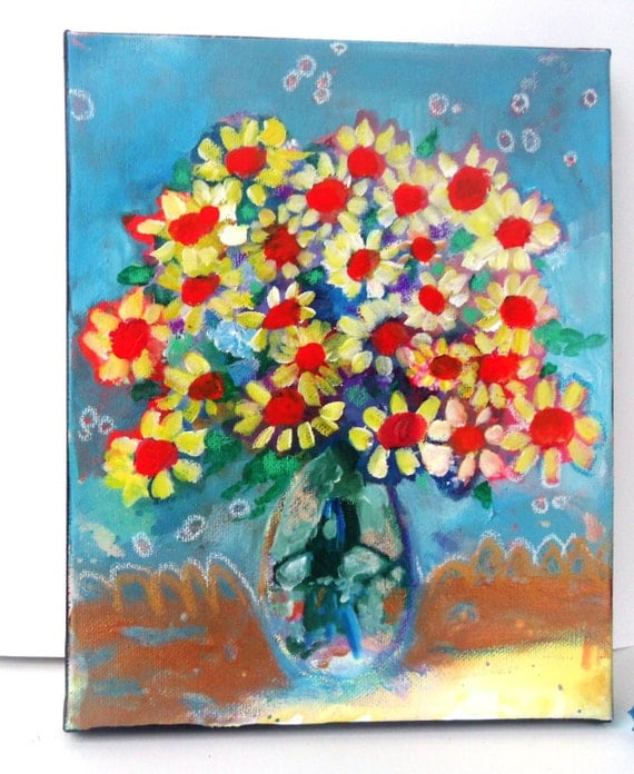 Original Abstract Spring Floral Still Life on Small Canvas Daisies in a Blue Room