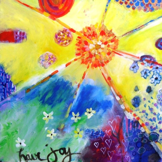 "Colorful Abstract Painting Spring Sunshine Yellow on Canvas ""Have Joy"""