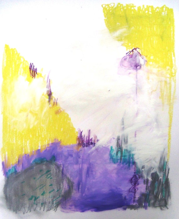 """Expressionist Abstract Art, Contemporary, Modern Painting Yellow Purple """"Sweet Scents"""""""
