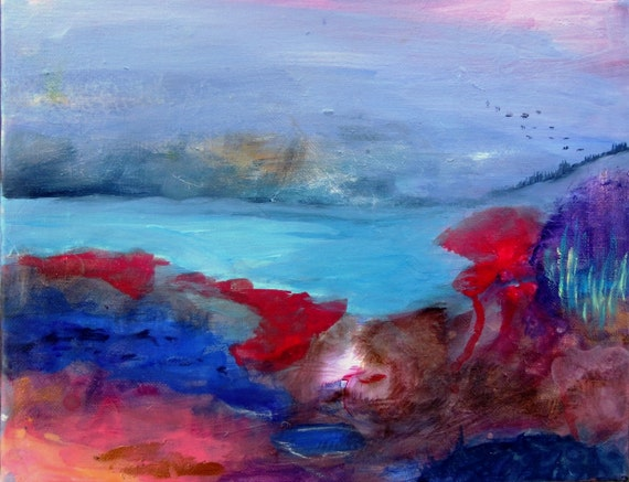 "Abstract Landscape Painting on Canvas ""Coastal Storm"""