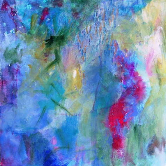 "Abstract Painting on Canvas Intuitive Expressionist Acrylic Painting ""Gazing at the Waters"""