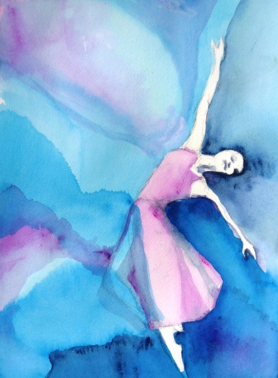 """Figure Painting Ballet Contemporary Art """"Ballerina with Pink and Blue"""""""