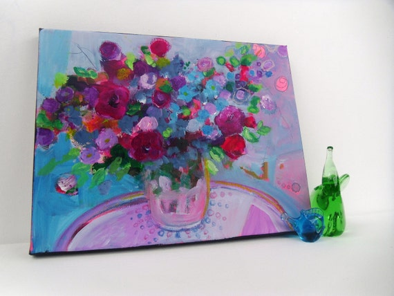 """Reserved for Brigtta  Abstract Summer Floral Painting on Small Canvas Original Modern Art """"Bouquet in a Blue Room"""""""