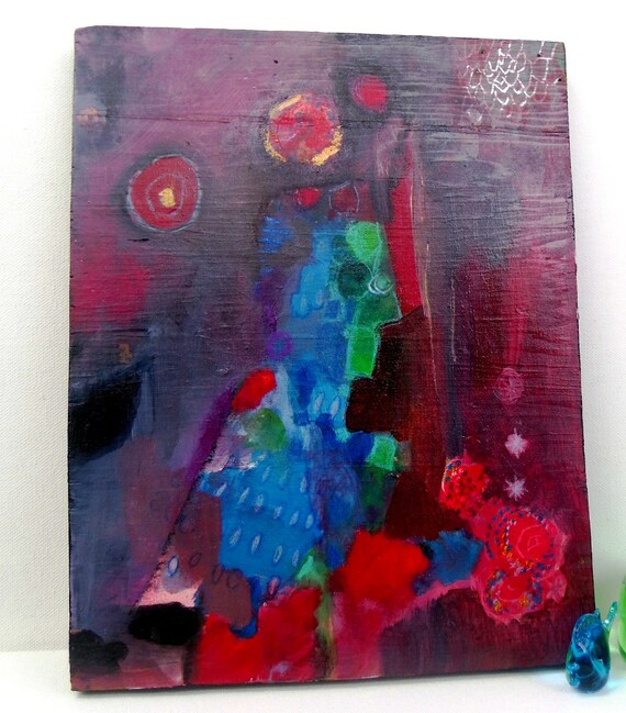"""Original Abstract Expressionist Painting on Wood, Contemporary Art, """"The Couple"""""""