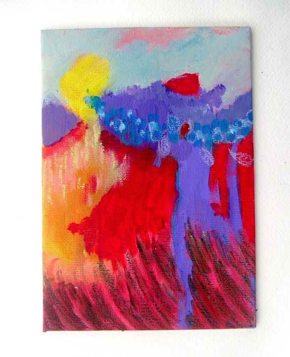"Small Abstract Painting Modern Art  Canvas Board""Run at the Mountains with Wings On"""