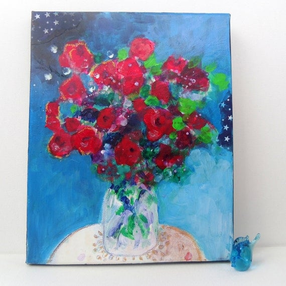 """Reserved for Brigitta Abstract Floral Painting on Small Canvas Contemporary """"Red Roses in a Dark Room"""""""