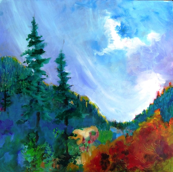 "Landscape Painting Canvas Original Oregon Mountain Forest ""Longing for the Mountain Air"""