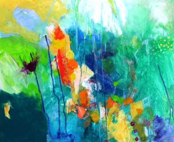 """Abstract Painting on Canvas Original Modern Art """"Tranquil Meadow"""""""