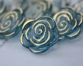 12 Blue Rose Jeweled crystal Buttons // Crystal style buttons // Ready to ship