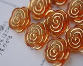 12 Orange Rose Buttons // Crystal style buttons // Ready to ship