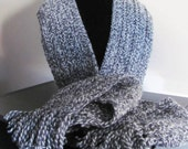 Grey and White Varigated Wool Unisex Scarf