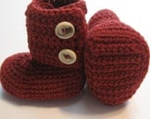 Infant crochet baby booties.  Ankle boots.  6 to 12 month.  Ready to ship.  Baby boy.  Baby girl.