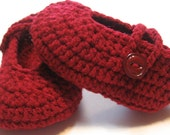 Crochet toddler Mary Janes.  Ready to ship.  Size 18 months.  Maroon.