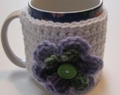 Crochet cup cozy.  Coffee cup cozy, crochet.  Ready to ship.  White.  Perfect mother's day gift.