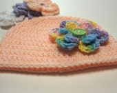 Crochet infant hat.  Detachable flowers.  Peach.  Pastel.  Lilac, white, green.  Ready to ship.  Newborn.  Photo prop.