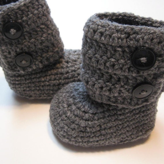 Baby booties.  Infants and toddler sizes.  Crochet ankle boots.  Made to order.  Dark Grey.  Infant and toddler boots.