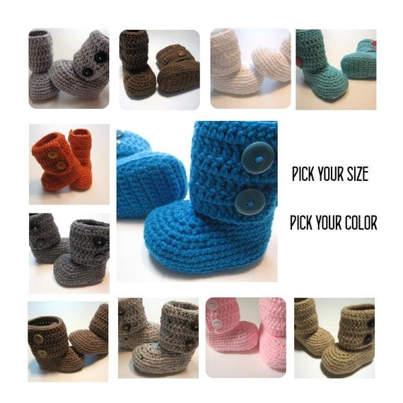 Crochet ankle boots.  Infant and Toddler.  Ugg Inspired boots.  Booties.  Slippers.  Made to order.  Pick your color.  Pick your size.