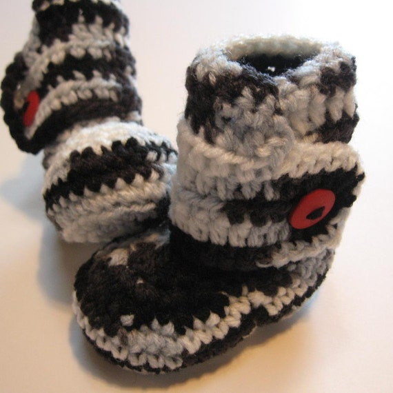 Newborn crochet baby booties.  Ankle boots.  Black and white with red.  Ready to ship.