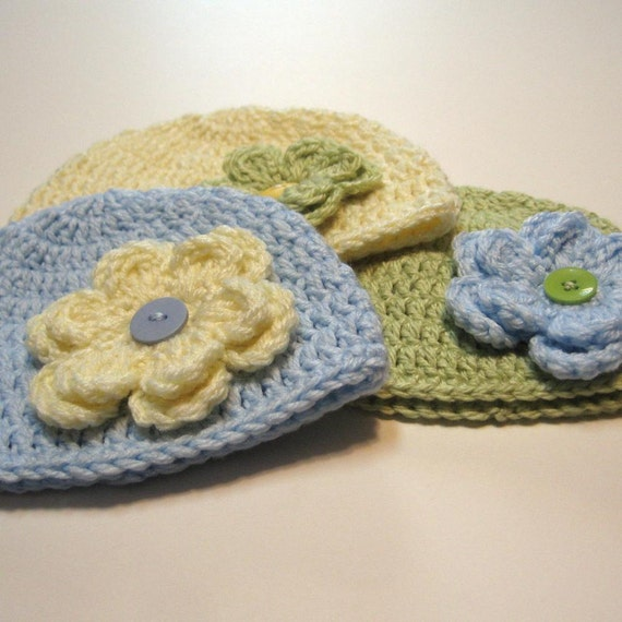 Crochet baby girl hats.  Newborn. 3 hats.  Detachable flowers.  Interchangeable.  Photo prop.