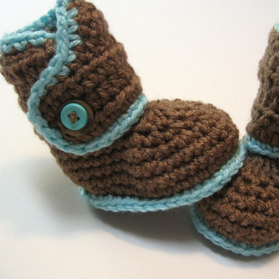 Crochet baby booties brown and aqua newborn to 3 months ready to ship
