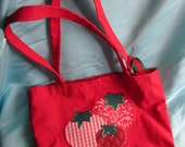 Small tote bag with tomato applique