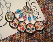 Confetti Sugar Skulls on Black NON SNAG Stitch Markers