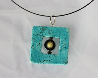 Abstract Turquoise Square Pendant