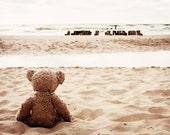 Nursery fine art photo - Teddy Bear (Mishka) by sea - photo 8x11 for framing