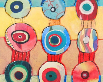 """Original Abstract Painting, Mixed media collage on wood panel, """"In Balance"""""""