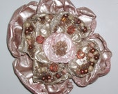 Beaded Flower Brooch Mixed Media Fiber Art Jewelry