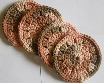 Crochet Round Coasters - Set of 4 - Multicolor