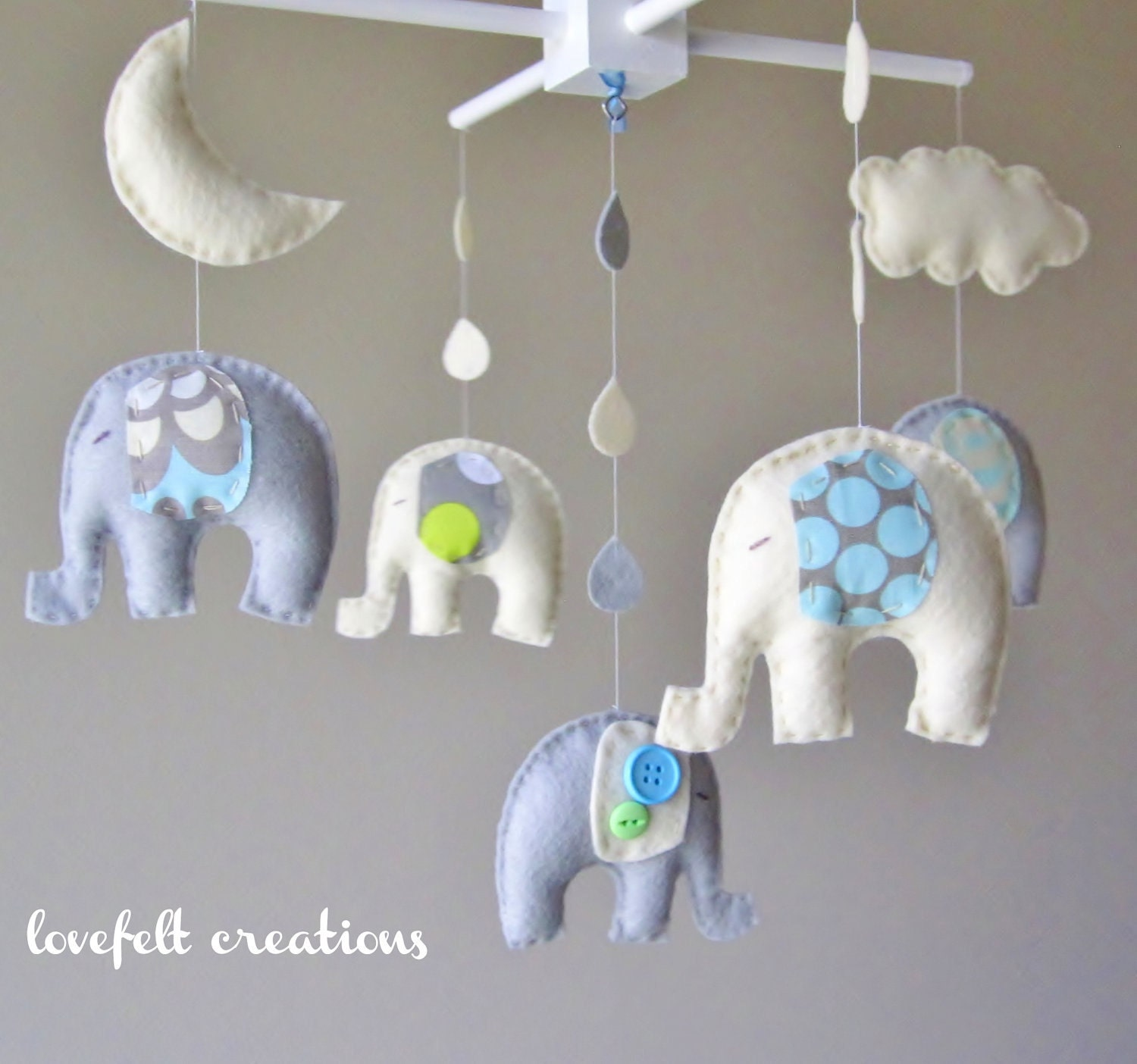 baby mobile baby crib mobile elephant mobile by lovefeltxoxo. Black Bedroom Furniture Sets. Home Design Ideas