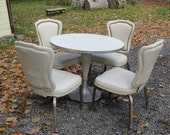 Mid Century Rocket Age Formica Pedastle Ice Cream Table 4 Chairs