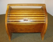 Vintage Oak and Mahogany Mid Century Modern Shoe Shine Box