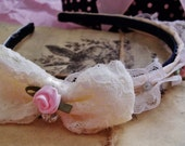 RESERVED: Rosy Lace Bow Headband - The Classic Lolita Collection