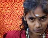 "Indian Girl on a red patterned background,  Southern India - 7""X10"" Archival Fine Art Print"