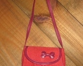 Vintage Red Corduroy Girls Purse with Bow