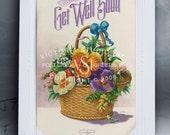 Get Well Card - Victorian Basket Of Flowers - Victoria Studio Ink - Basket of Wishes Magnet