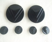 Black Buttons Vintage - Retro - Set of 6