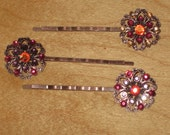 Set of Three  (3) Crystal Filigree Floral Bobby Pins in Pink and Purple,Hair Accessory, Vintage Style, Studded