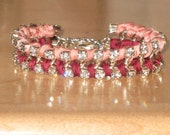 Pink and Berry Silk Ribbon Wrapped Bracelet with Crystal Rhinestones, Formal/Bridesmaid/Bridal