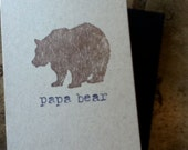 Papa Bear Hand Stamped Greeting Card