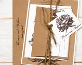 Rustic Peony Wedding Invitations Romantic Engraved Invitation Kraft, brown and white