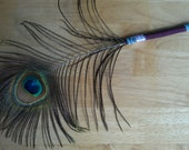 viethssabrina Custom Order Peacock Feather Pen, Burgundy Victorian Design, Beautifully Iridescent, Cruelty Free, Feathers shed naturally
